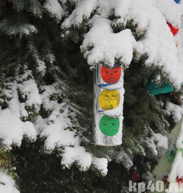 Новогодняя игрушка дорожный знак своими руками